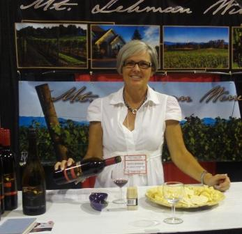 Donna Redekop of Mt. Lehman Winery pours their eight-grape blended red