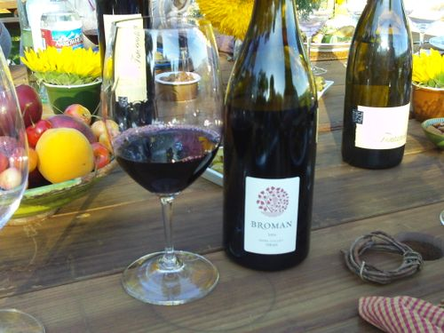 Dinner in Napa Valley, sipping on a Broman Cellars syrah