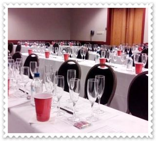 Bubble-icious seminar room is set up for tasting seven sparklers