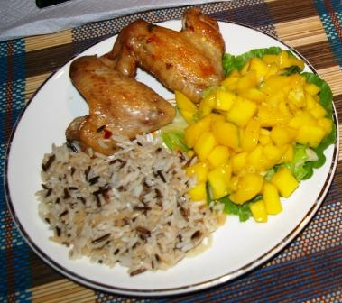 Thai-style Chicken Wings and Mango Salad