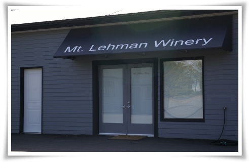 Facade of the Mt Lehman Winery on a sunny Saturday afternoon in April