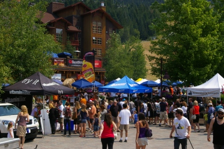 People exploring the 2010 Canadian National BBQ Championships at Creekside in Whistler, BC