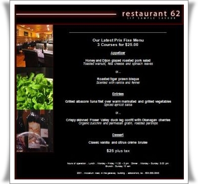 $25 prix fixe menu at Restaurant 62