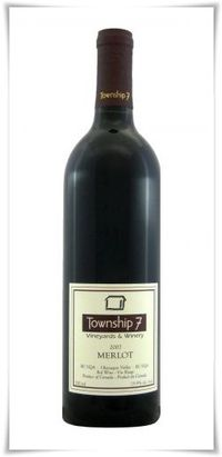 The 2007 Merlot from Township 7 is a rich red wine made from primarily Merlot (92%) and a bit (8%) of Cabernet Sauvignon