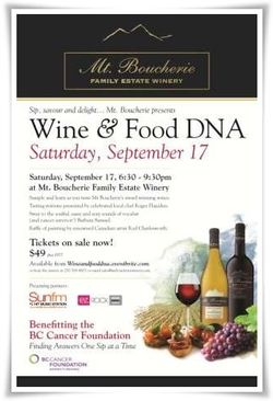 Mt Boucherie-Wine and Food DNA-Benefitting the BC Cancer Foundation