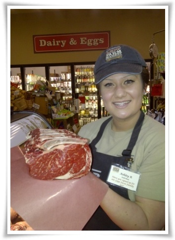 Ashley of Lepp Farm Market shows off our 2011 Christmas Eve prime rib