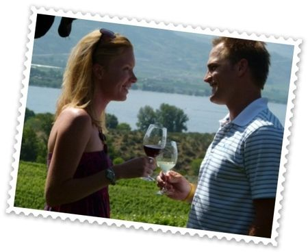 Andrea and Steve enjoy Nk'Mip QwAM QwMT 2009 Pinot Noir & QwAM QwMT 2009 Chardonnay