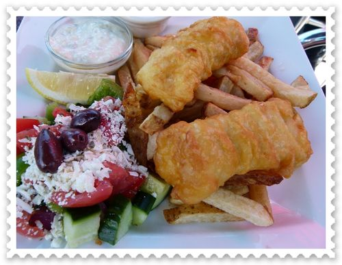 Halibut, chips and Greek salad at Bay Moorings