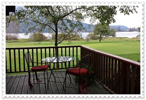 View of deck-golf course-river