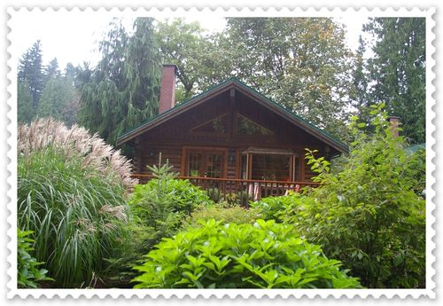 Exterior of a cabin at Pretty Estates Resort in Harrison Mills